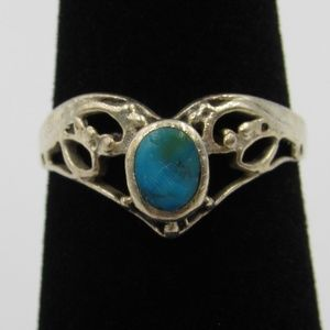 Vintage Size 6.25 Sterling Rustic Blue Stone Ring